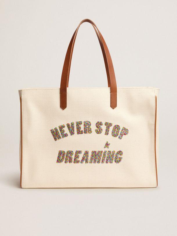 Golden Goose - California East-West Never Stop Dreaming glitter bag in