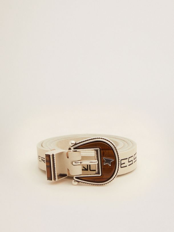 Golden Goose - Rodeo belt in white leather with contrasting handwritten lettering   in