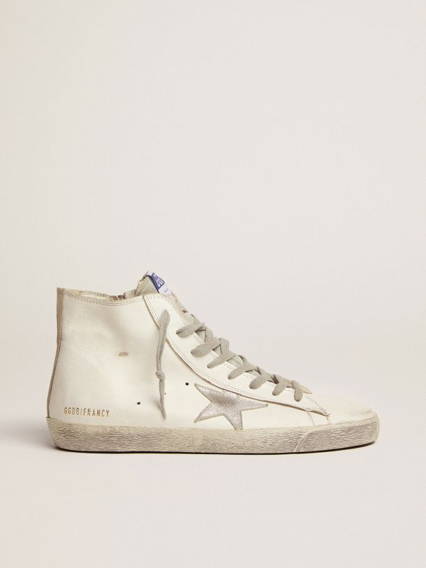 Golden Goose - Sneakers Francy in pelle con stella in camoscio argentato in