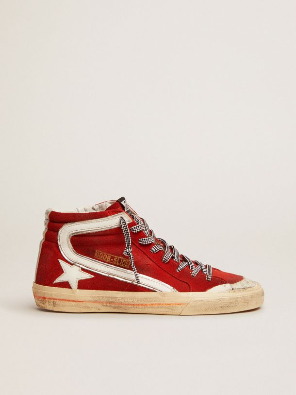 Golden Goose - Penstar Slide sneakers in red suede with white details in