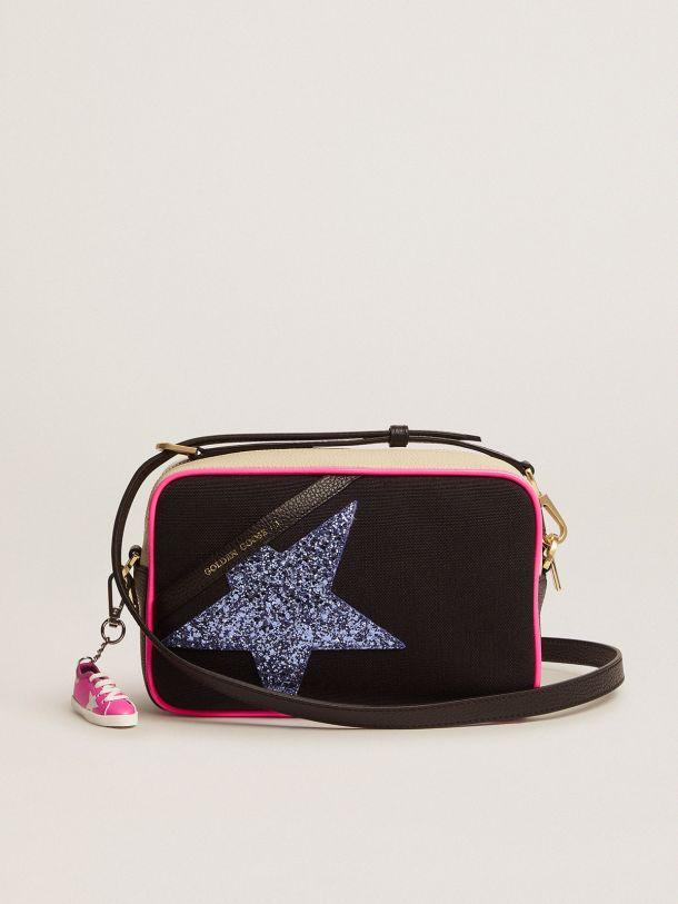 Golden Goose - Borsa Star Bag in canvas con inserti bianco latte in pelle martellata e stella glitter color viola in