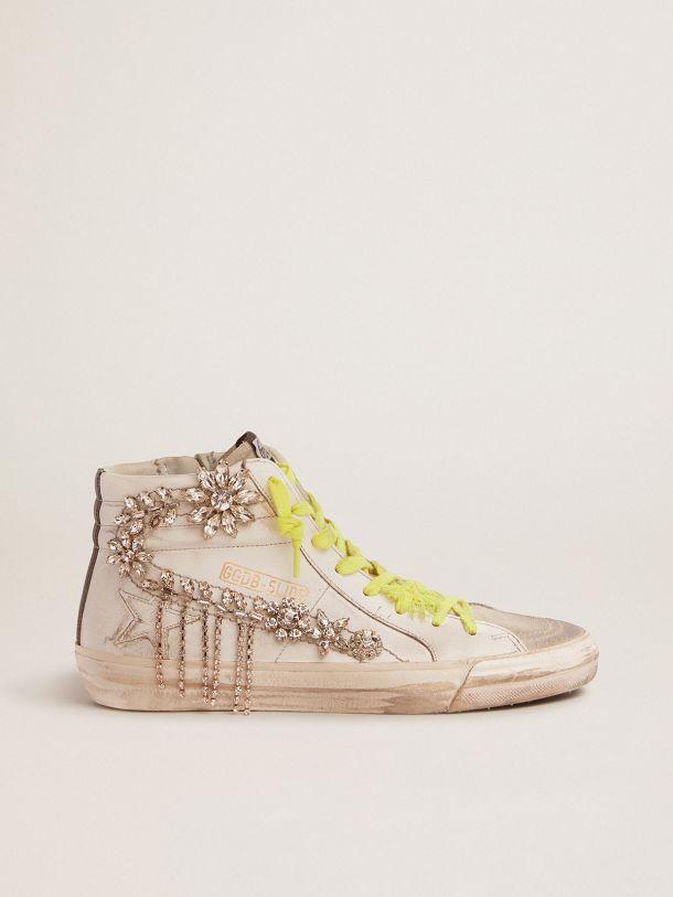 Golden Goose - Slide LTD sneakers with chandelier-effect crystals in