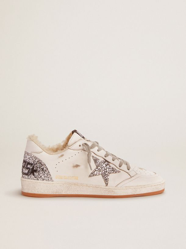 Golden Goose - Ball Star sneakers in white leather with silver glitter details and shearling lining in