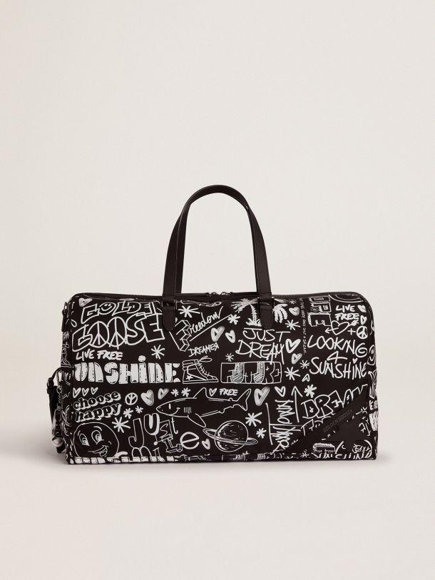 Golden Goose - Duffle Bag Journey in nylon nero con decorazioni bianche a contrasto in