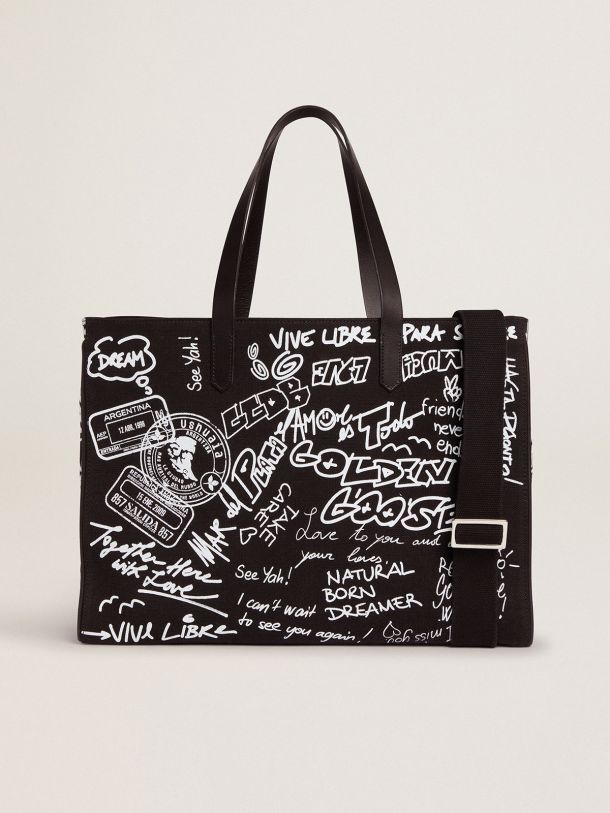 Golden Goose - East-West California Bag in black canvas with graffiti in