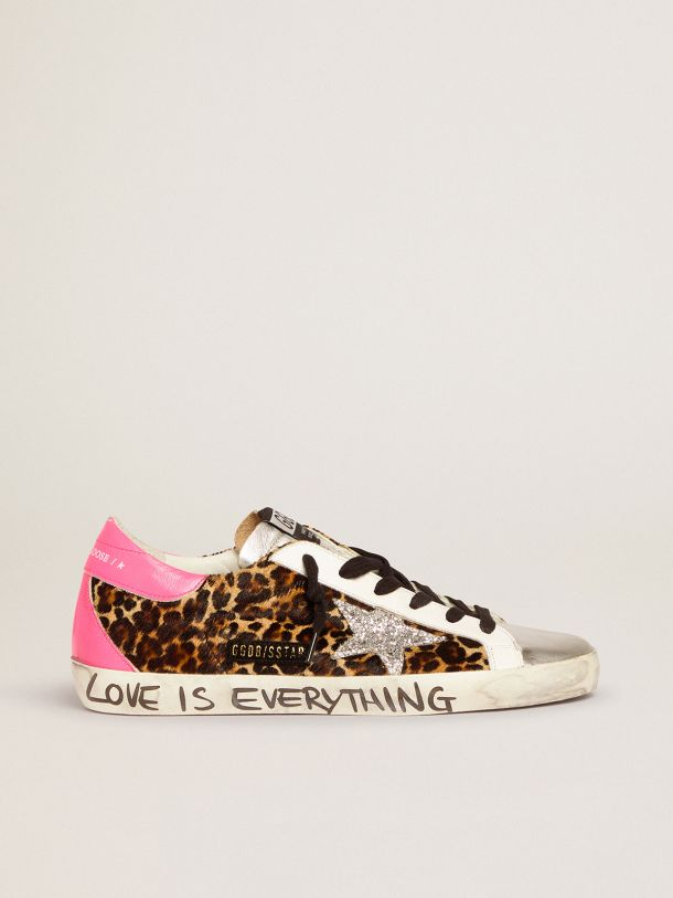 Golden Goose - Super-Star sneakers in leopard-print pony skin with silver glitter star in