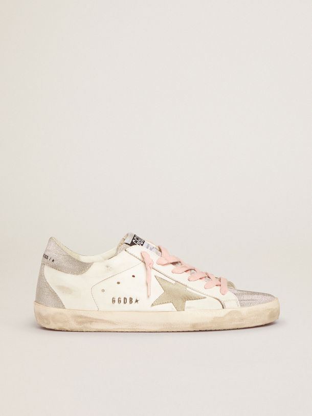 Golden Goose - Super-Star sneakers with silver glitter tongue and heel tab with checkered pattern in