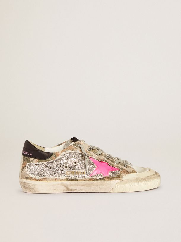 Golden Goose - Super-Star sneakers in silver glitter and camouflage canvas in