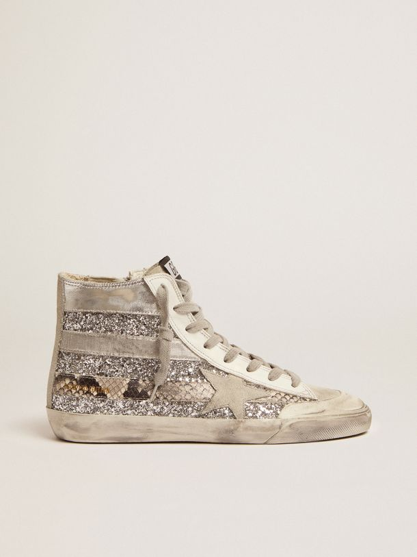 Golden Goose - Francy Penstar LAB sneakers with glitter upper and silver and snake-print stripes in