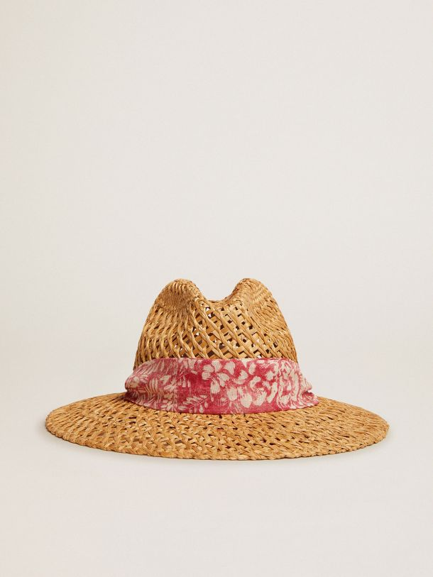 Golden Goose - Golden Resort Capsule Collection woven straw hat with scarf in vintage red and contrasting white toile de jouy print in