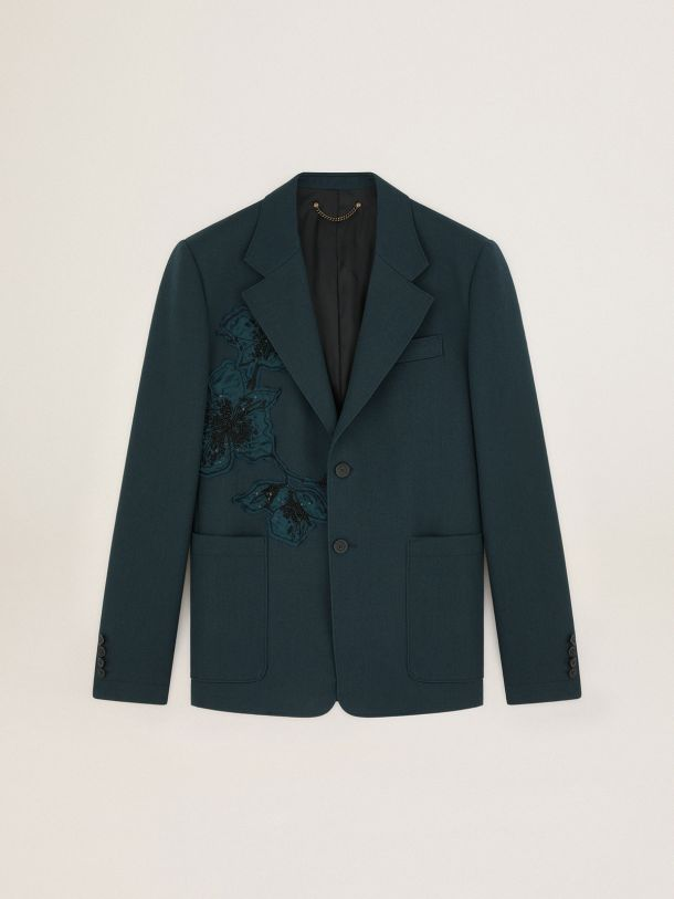 Golden Goose - Single-breasted Journey Collection Derik jacket with appliqued flower patches in