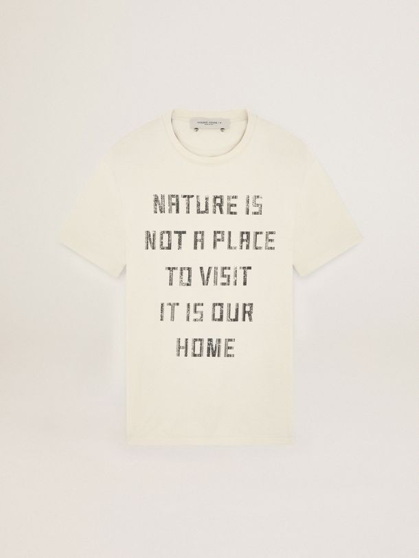 White Journey Collection T-shirt with contrasting black lettering on the front