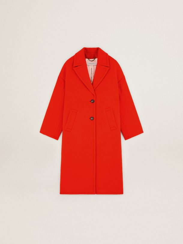 Golden Goose - Single-breasted Journey Collection Bertina coat in orange decatized wool fabric in