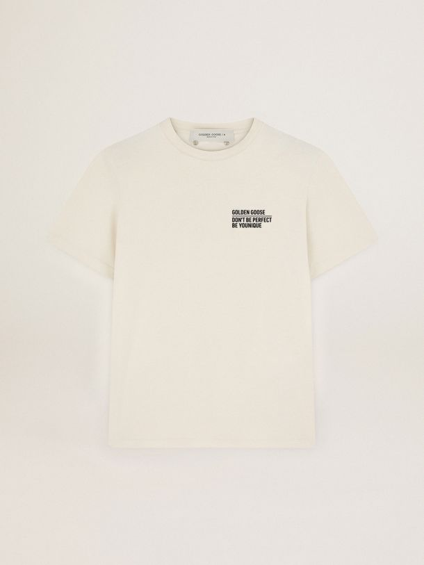 Golden Goose - Bone white Journey Collection T-shirt with contrasting black logo and lettering on the front in
