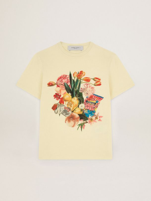 Golden Goose - Pastel yellow Journey Collection T-shirt with colorful collage-style print in
