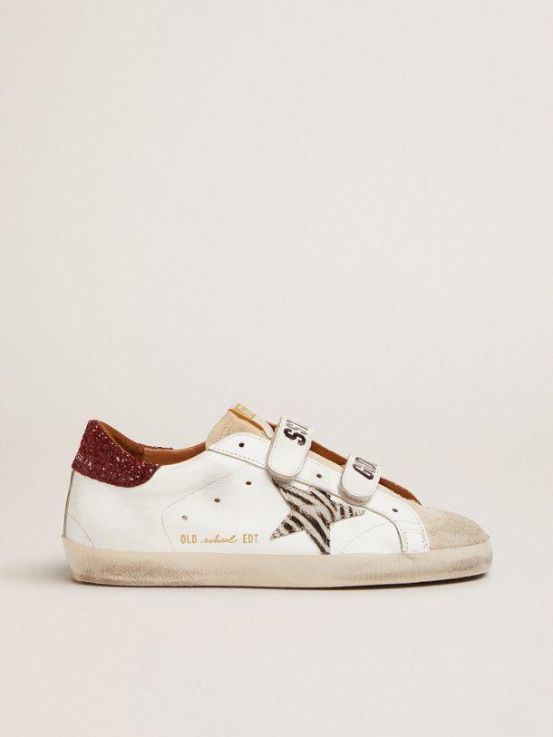 Golden Goose - Sneaker Old School con stella in cavallino zebrato e talloncino in glitter rossi in