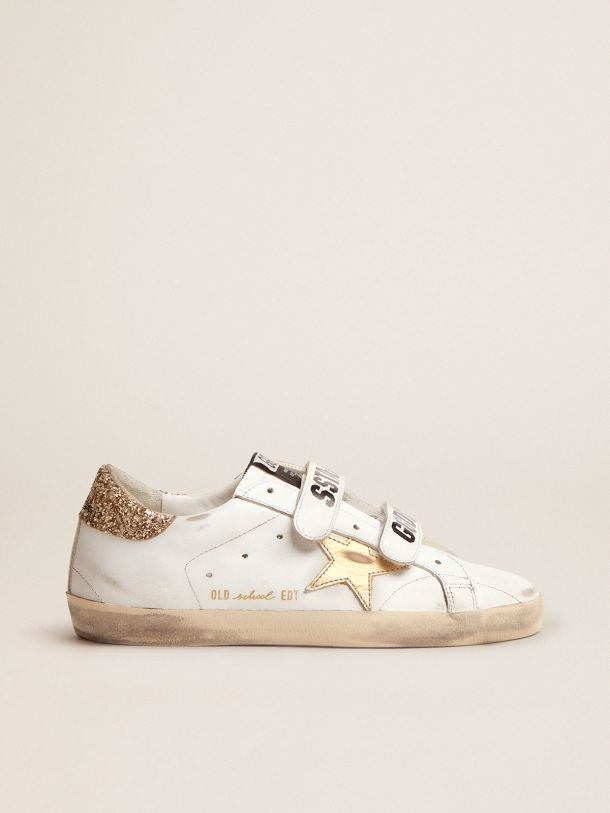 Golden Goose - Old School sneakers with gold laminated leather star and gold glitter heel tab in