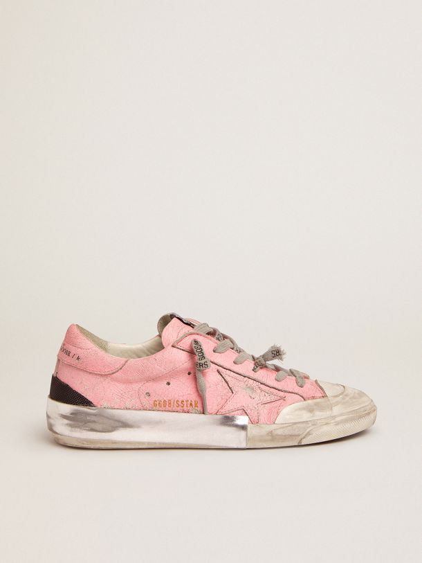 Super-Star sneakers in pink crackled leather and multi-foxing