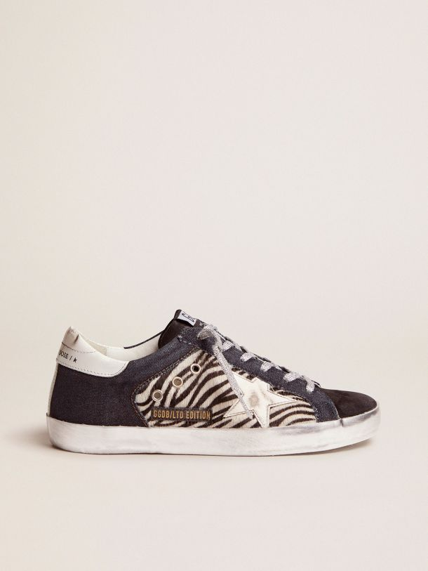 Golden Goose - LAB Limited Edition Super-Star sneakers in denim, zebra-print pony skin and suede in