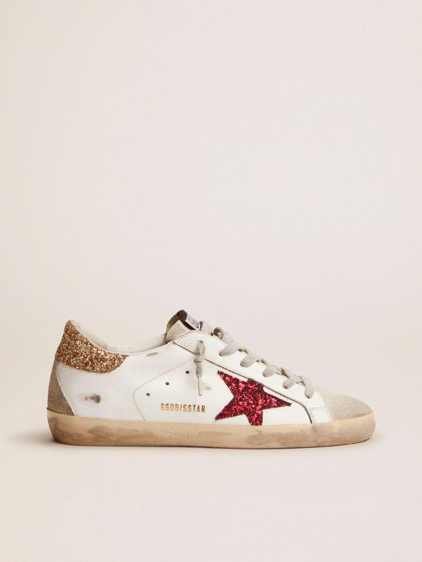 Golden Goose - Sneaker Super-Star con stella e talloncino in glitter colorati in