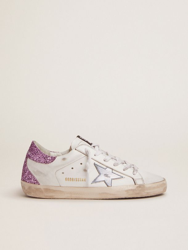 Golden Goose - Super-Star sneakers with lavender glitter heel tab and light-blue metallic leather star in