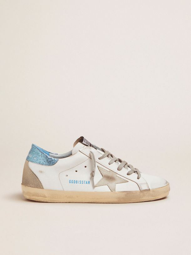 Golden Goose - White Super-Star LTD sneakers with blue laminated heel tab in