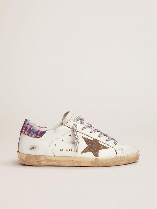 Golden Goose - Sneaker Super-Star con talloncino colorato in jacquard e stella in suede pitonato in