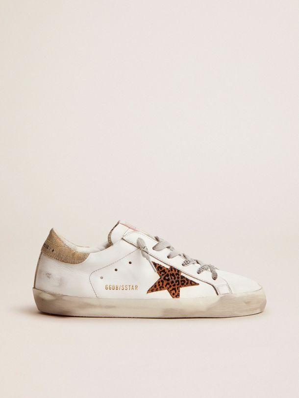 Golden Goose - Super-Star LTD sneakers with leopard-print star and gold glitter heel tab in
