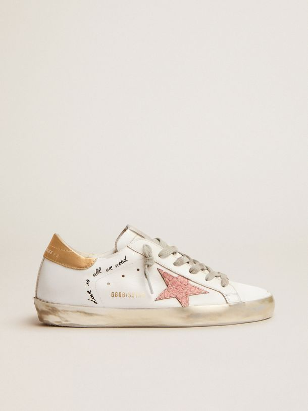 Golden Goose - Sneaker Super-Star con scritte a mano e stelle in pelle con stampa cocco   in