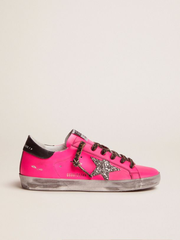 Golden Goose - Fuchsia Super-Star sneakers with glitter star in
