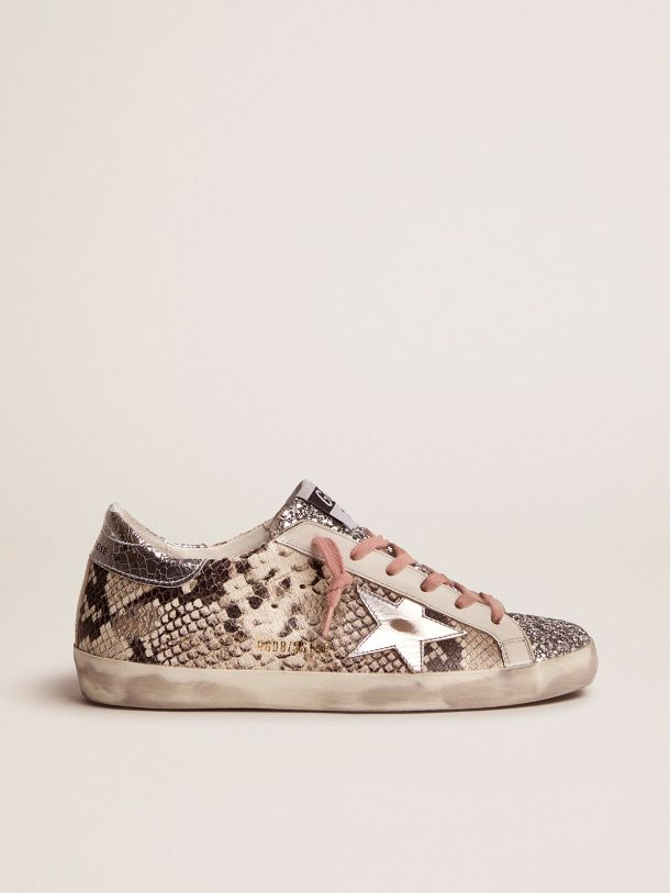 Golden Goose - Super-Star LTD sneakers with snake print and glitter in