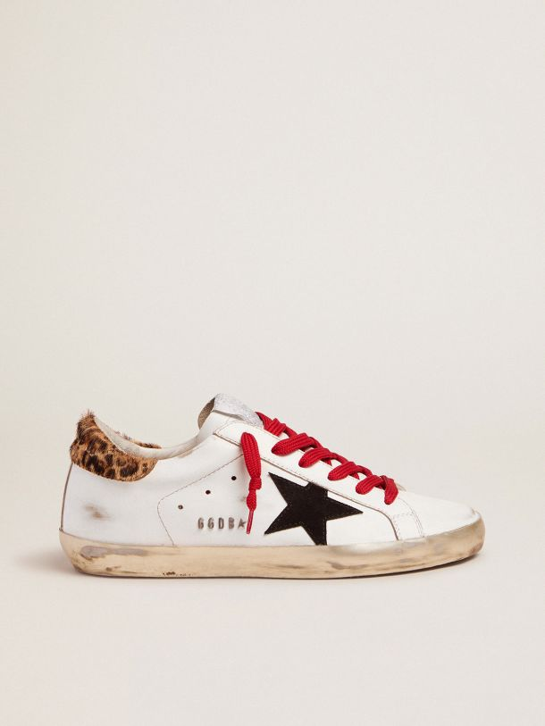 Golden Goose - Super-Star sneakers with leopard-print heel tab and red laces in