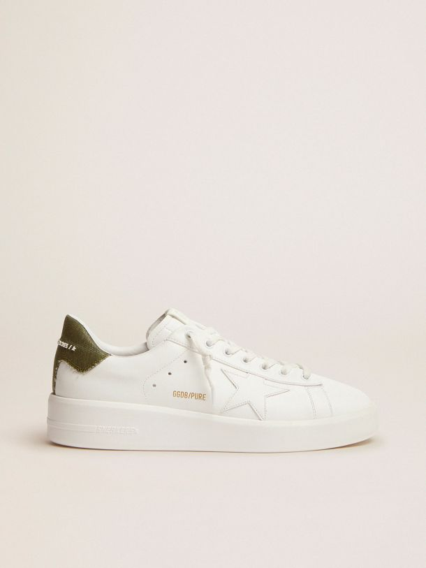 Golden Goose - Purestar sneakers in white leather with green canvas heel tab in