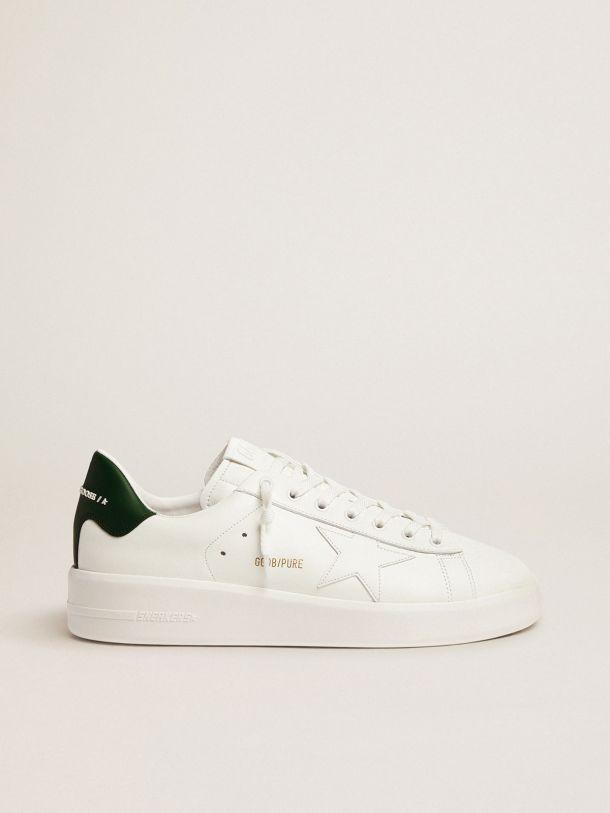 Golden Goose - White Purestar sneakers with green heel tab in