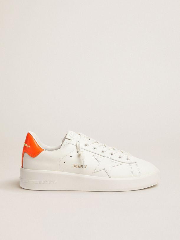Golden Goose - White Purestar sneakers with fluorescent orange heel tab in