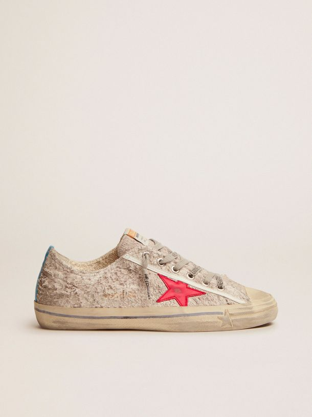Golden Goose - V-Star sneakers in white suede with red leather star in