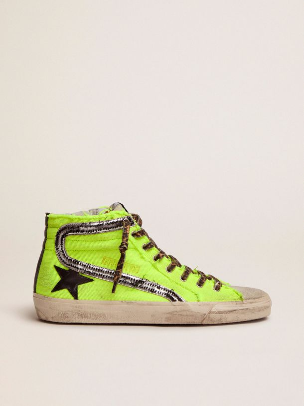 Golden Goose - Dream Maker Collection Slide sneakers in fluorescent yellow canvas with black star in