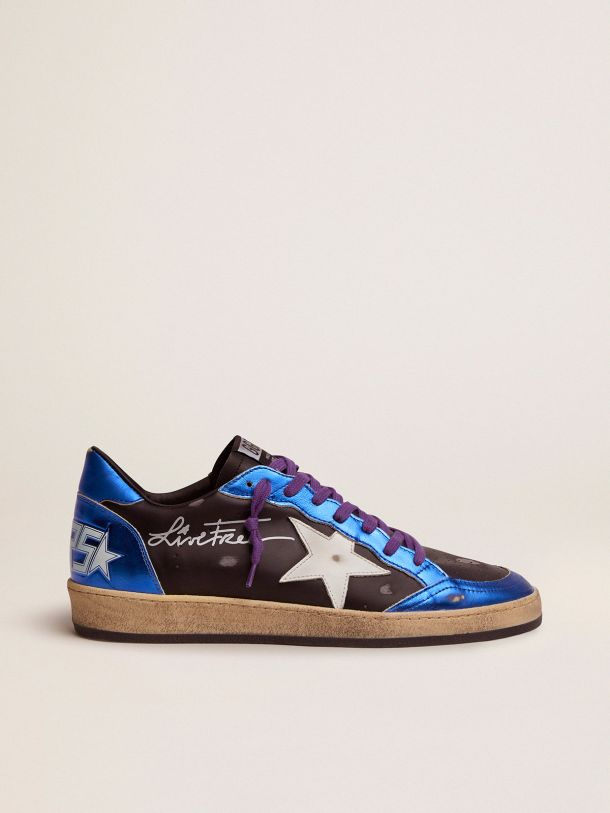 Golden Goose - Black Ball Star sneakers with blue laminated inserts and heel tab in