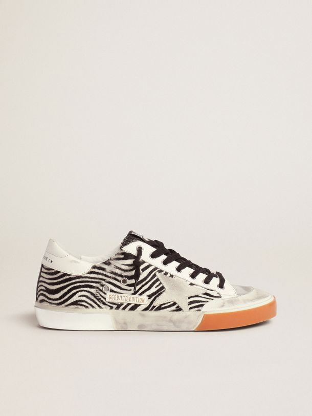 Golden Goose - Men's Limited Edition LAB zebra-print Super-Star sneakers with mesh tongue in