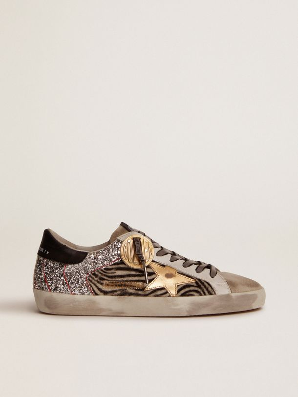 Golden Goose - Super-Star Game EDT Capsule Collection sneakers in zebra-print pony skin and silver glitter in
