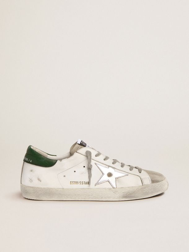 Golden Goose - Super-Star sneakers with green leather heel tab and silver laminated leather star in
