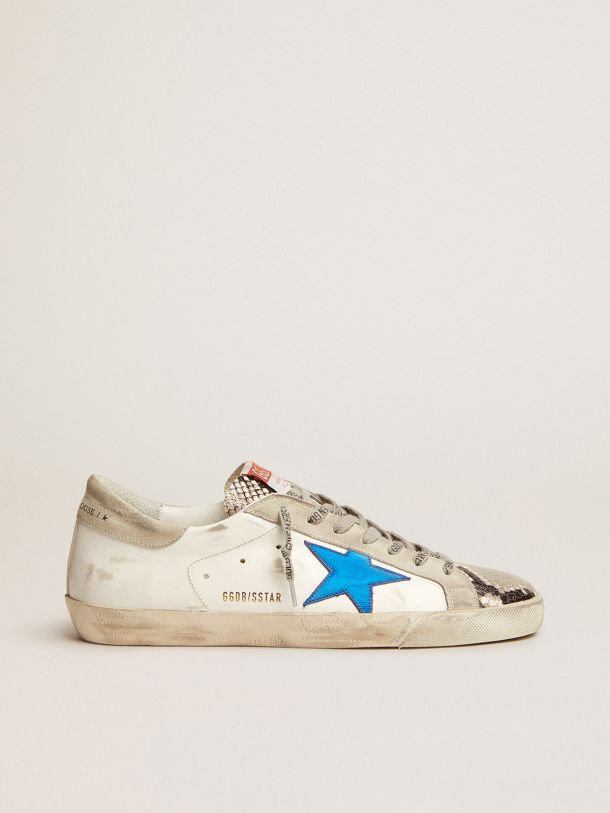 Super-Star sneakers with snake-print leather inserts and blue laminated leather star