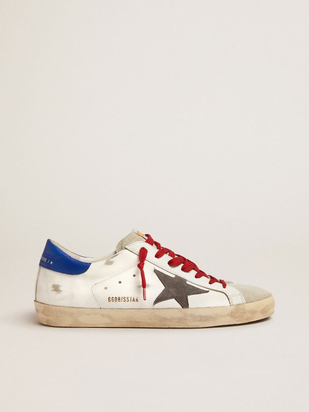 Golden Goose - Super-Star sneakers with blue heel tab and red laces in