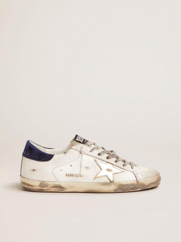 Golden Goose - Super-Star sneakers with midnight-blue corduroy velvet heel tab in