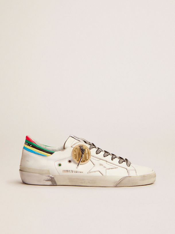 Golden Goose - Sneakers Super-Star collection capsule Game EDT blanches avec contrefort multicolore in