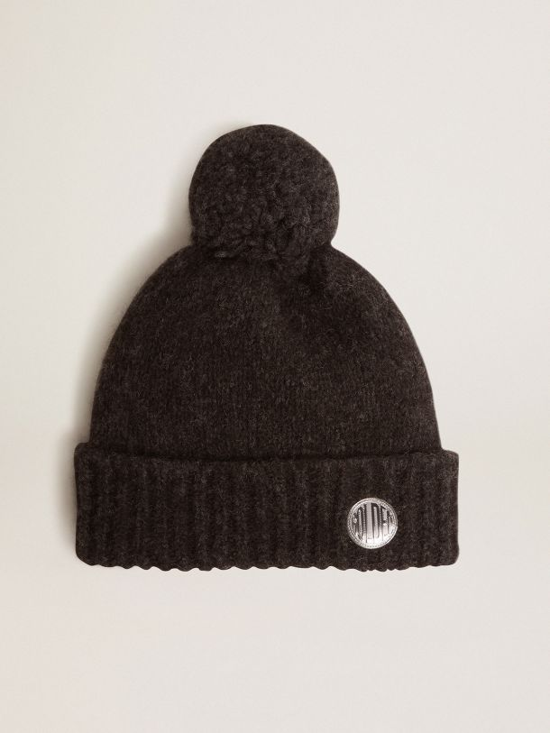 Golden Goose - Anthracite-gray wool Journey Collection Didi beret with pompom in