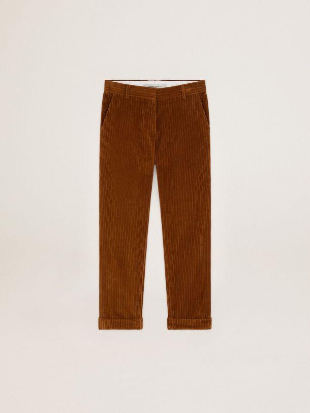 Pantalón Daria de la colección Journey en pana de color terracota