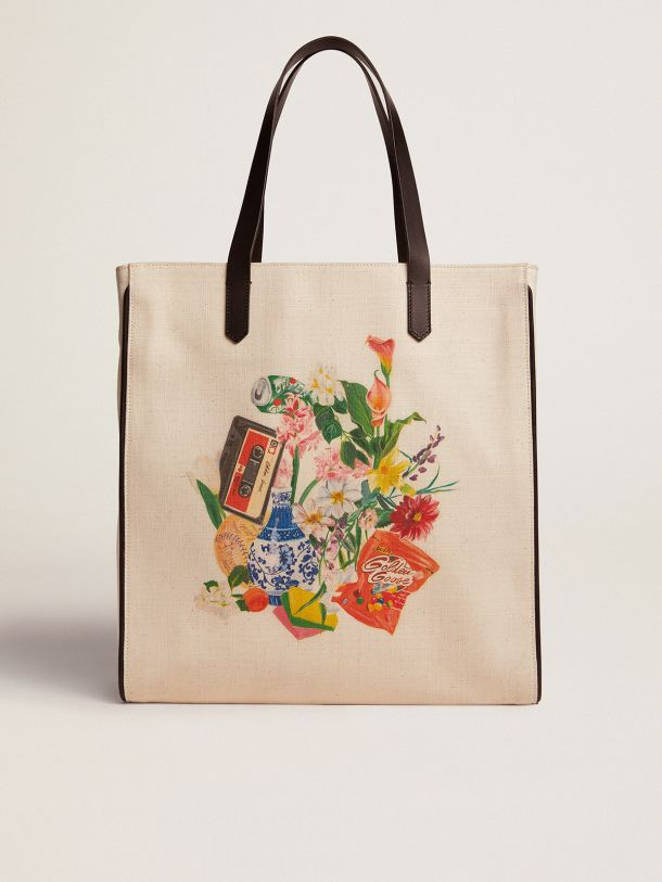Golden Goose - North-South California Bag with contrasting collage print in