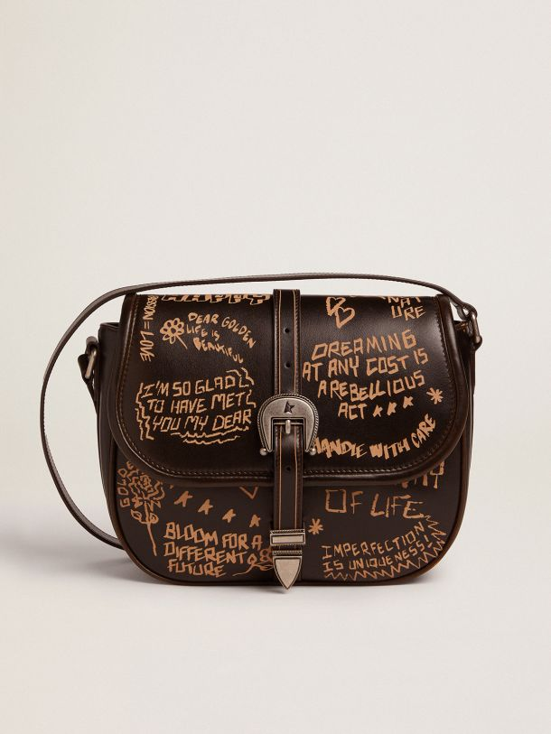 Golden Goose - Medium Rodeo Bag in black leather with contrasting lettering in