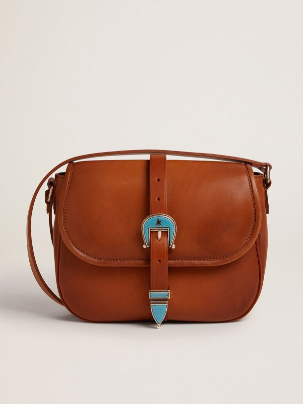 Golden Goose - Medium Rodeo Bag in tan-colored leather with light blue details in